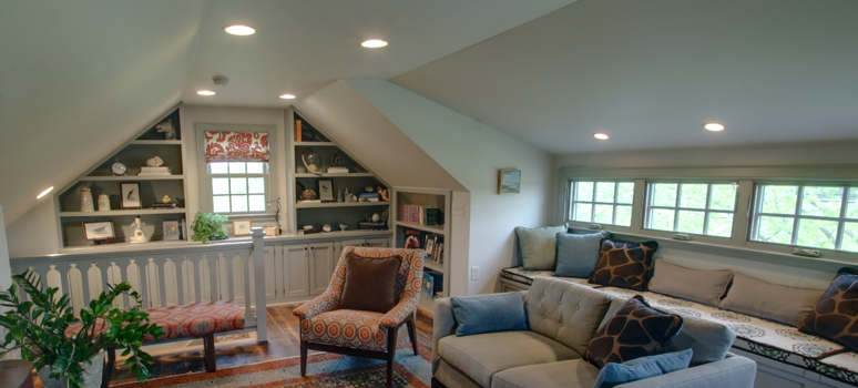 colonial home office attic remodel